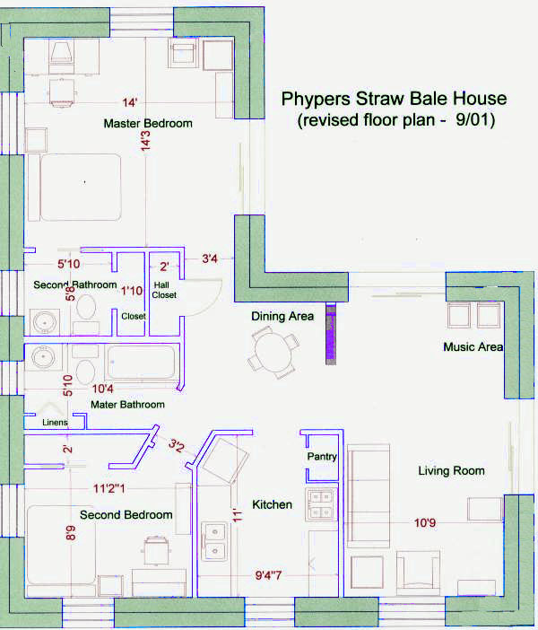 Straw bale house floor plan for Straw bale home designs