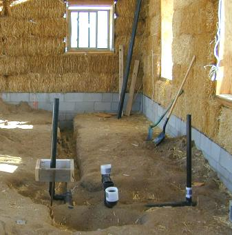 Straw bale house construction pictures part 3 roofing for New construction plumbing rough in